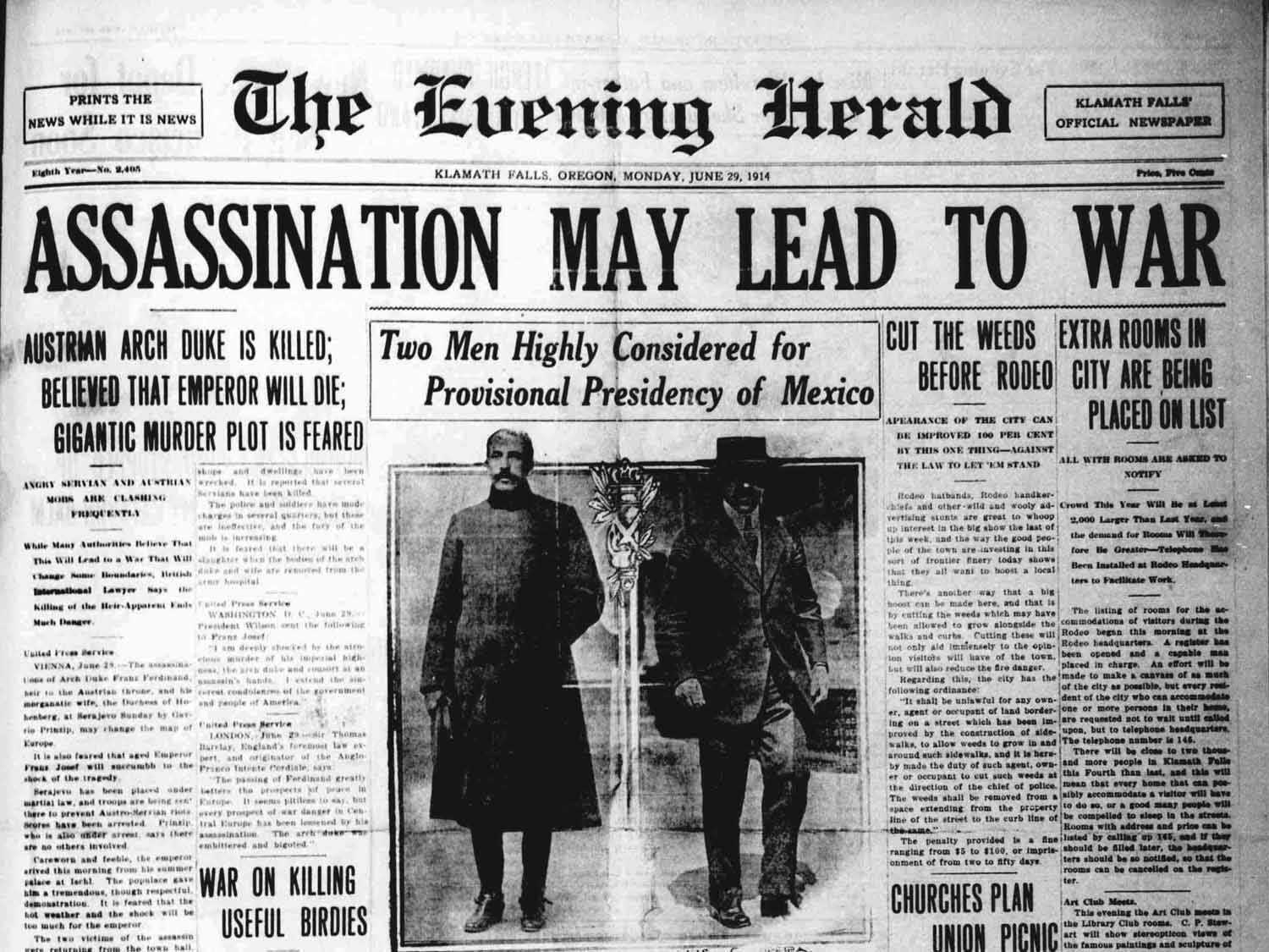 The evening herald une assassinat de l'archiduc Franz ferdinand de Habsbourg et risques de guerre
