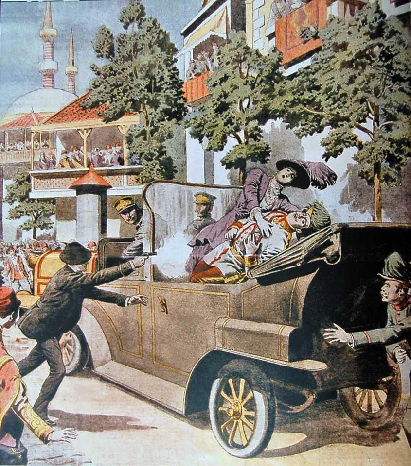 attentat contre l'archiduc françois-ferdinand de Habsbourg abattu par gavrilo princip et Sophie de hohenberg sarajevo 28 juin 1914.