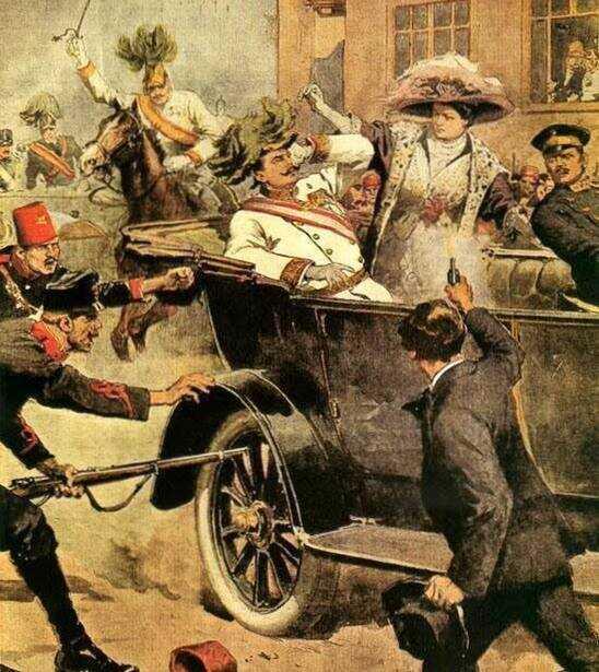 attentat contre l'archiduc françois ferdinand de Habsbourg et Sophie de hohenberg à sarajevo 1914