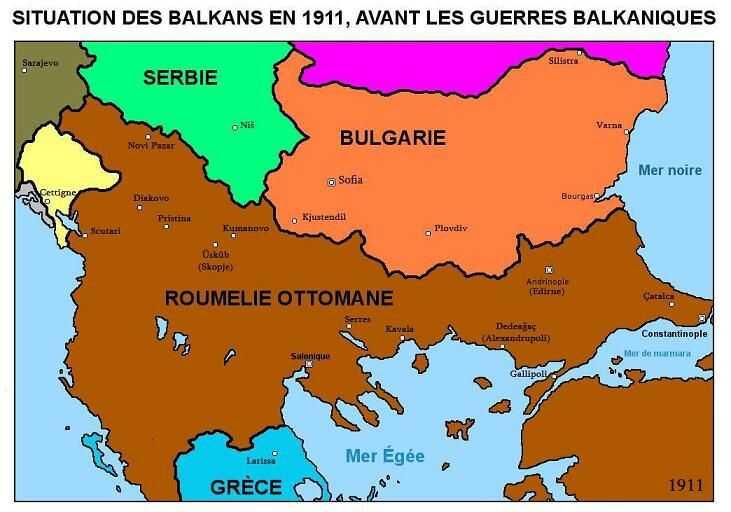 carte balkans avant les guerres des balkans en 1911