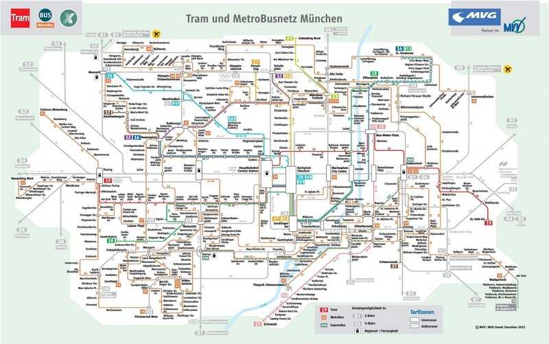 plan des transports en commun à munich