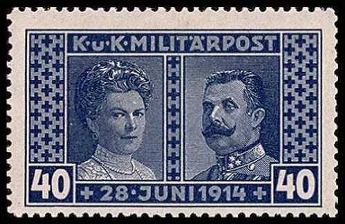 timbre représentant l'archiduc françois ferdinand de habsbourg et son épouse sophie de hohenberg