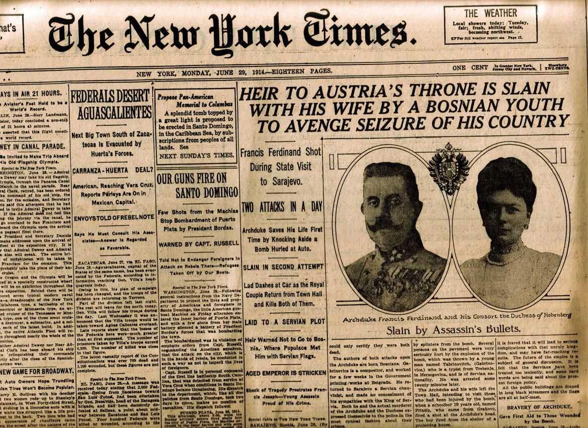 une de new york times sur l'assassinat de françois ferdinand de habsbourg et son épouse sophie à sarajevo