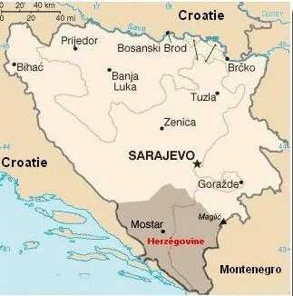 carte de la bosnie et de la région herzégovine