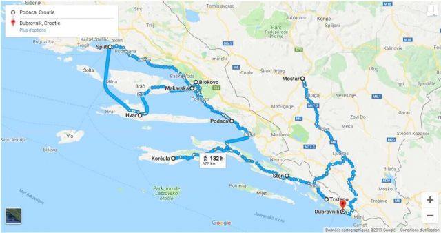 carte itinéraire en dalmatie du sud et centrale