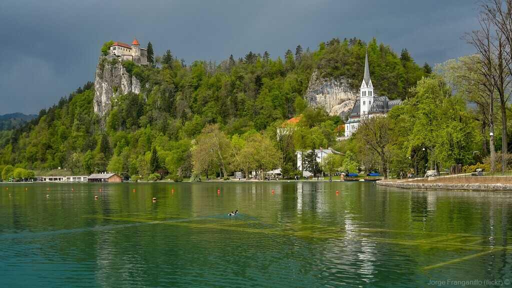 chateau et village de bled depuis les bords du lac