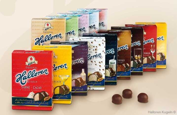 halloren kugeln variété de boules chocolatées de la chocolaterie Halloren à Halle