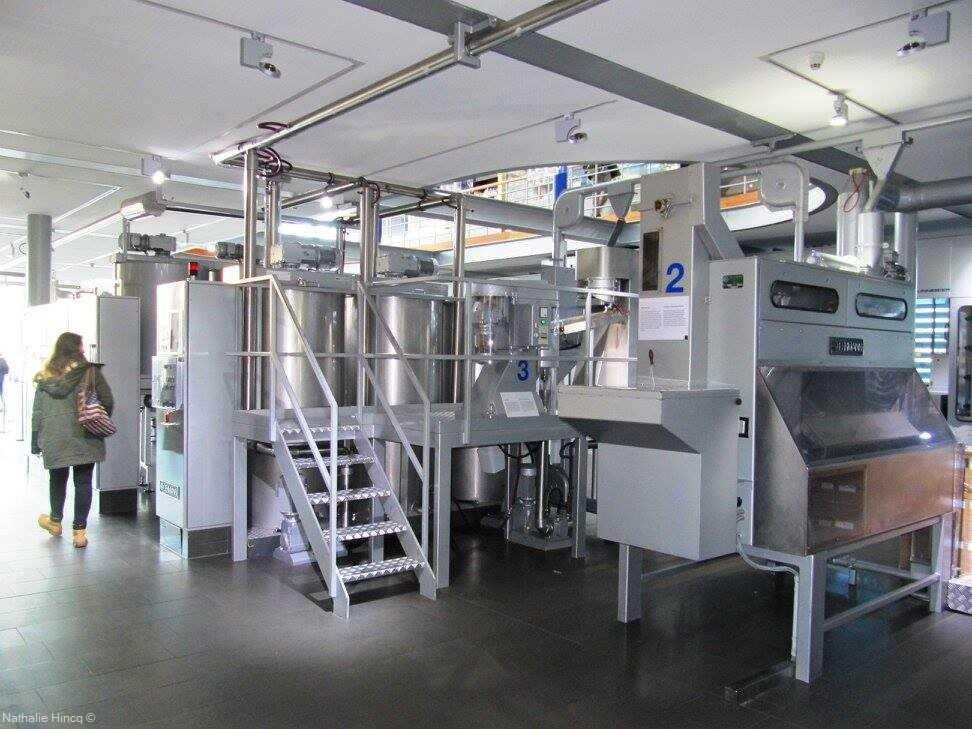 machines d'usine d'une chocolaterie au musée du chocolat à cologne