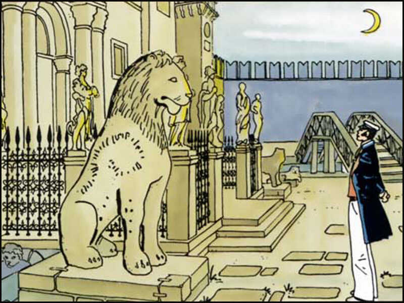 Corto Maltese avec le lion de l'Arsenal