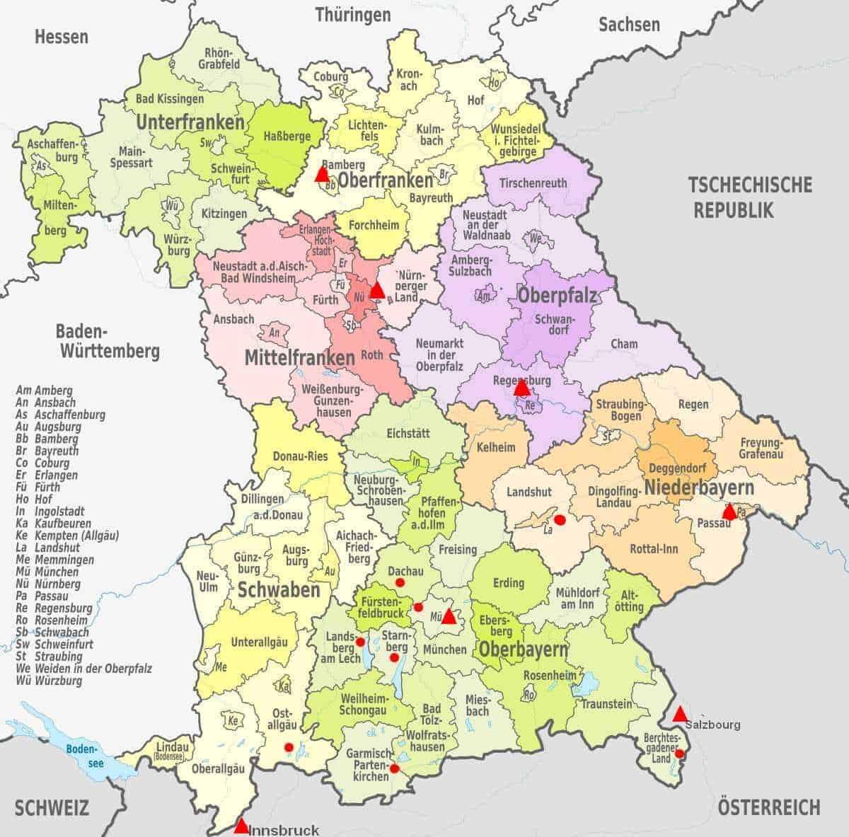 carte baviere régions et districts