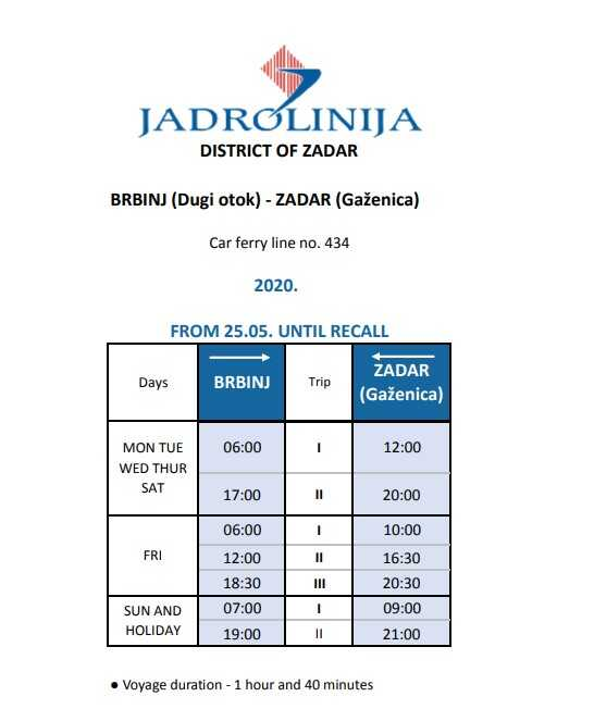 car ferry liaison Zadar – Brbinj Jadrolinija