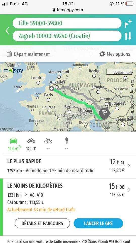 itinéraire entre lille et zagreb par munich