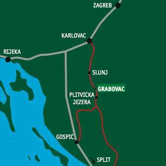 plitvice sur la carte de lika en croatie