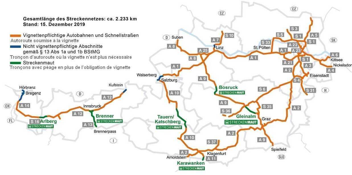 Combien coûte la Vignette pour rouler sur les autoroutes en Autriche? 1