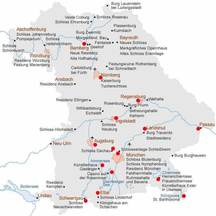 carte de bavière avec les attractions touristiques