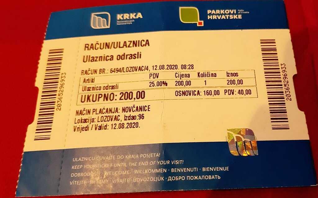 billet d'entrée Krka