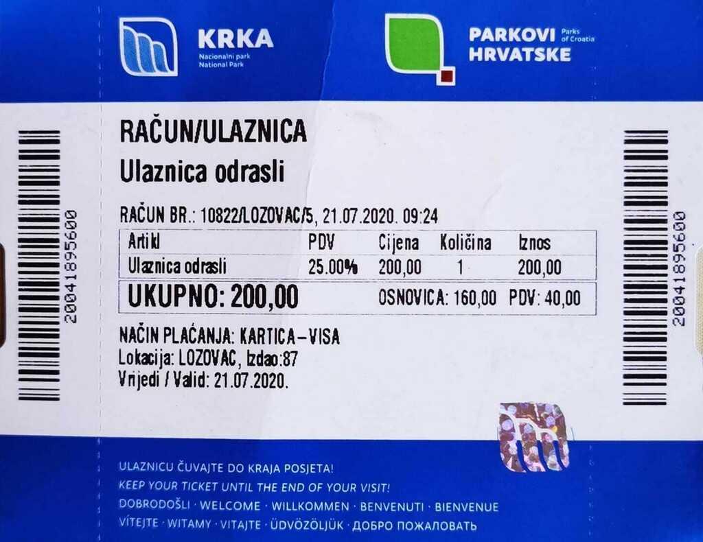 ticket d'entrée du parc de krka en haute saison