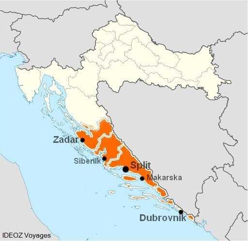 carte de la dalmatie et principales villes