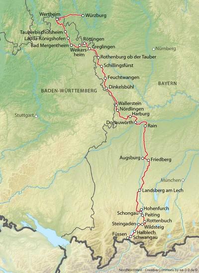 carte de la route romantique allemande en bavière romantische strasse karte