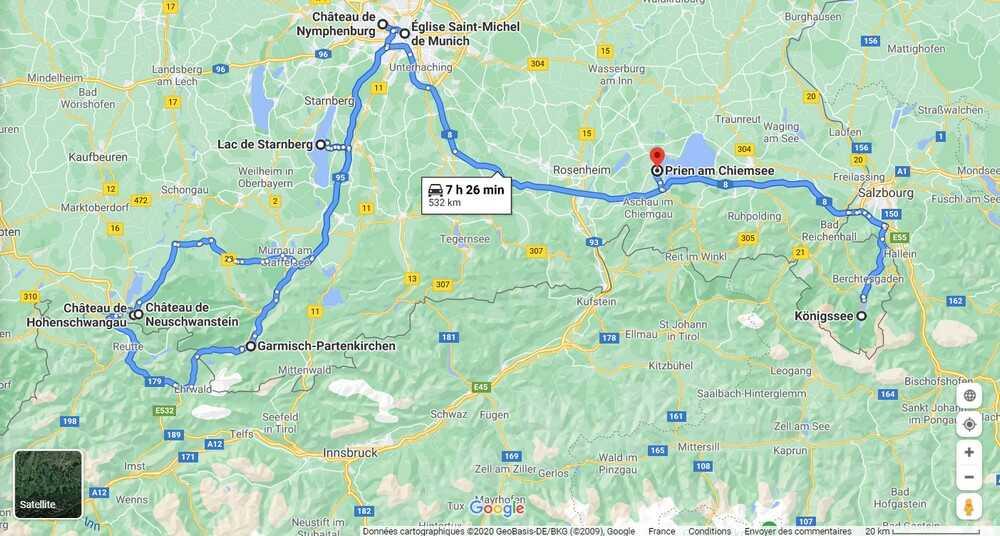 carte du circuit sur la route de louis ii de bavière