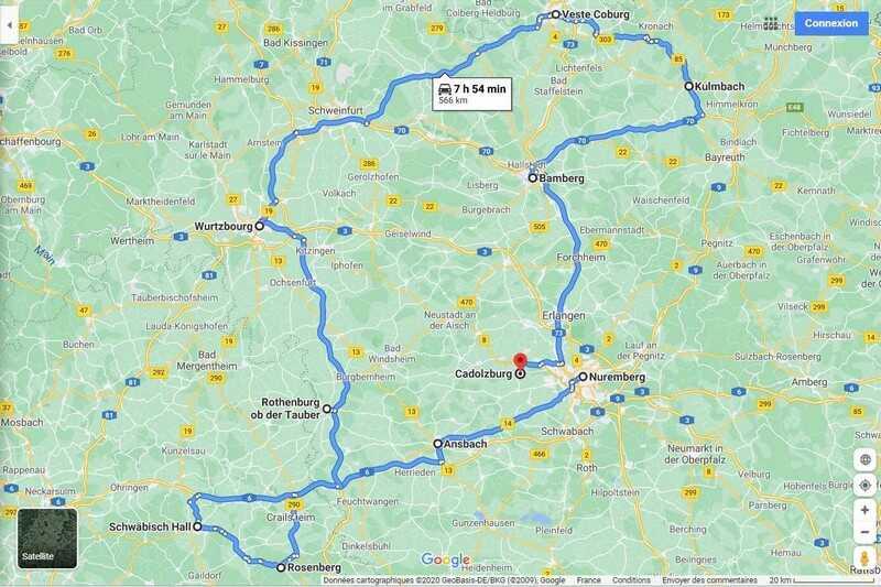 carte itinéraire en franconie depuis nuremberg bamberg veste coburg wurzburg