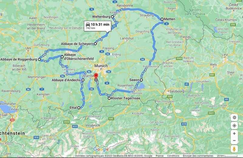 carte itinéraire sur la route des abbayes de bavière