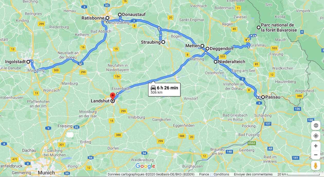 itinéraire le long du danube entre regensburg et passau en passant par ingolstadt et landshut