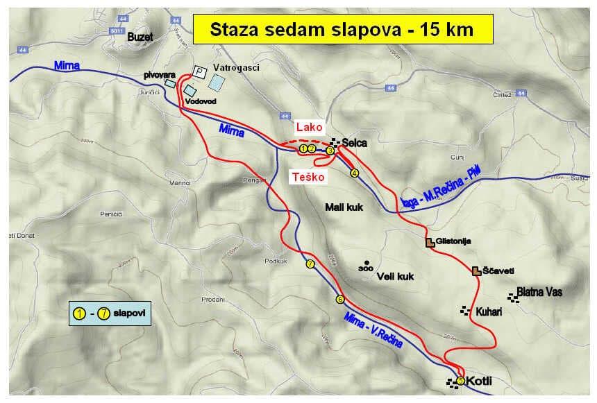 Staza 7 Slapova carte de la randonnée en istrie