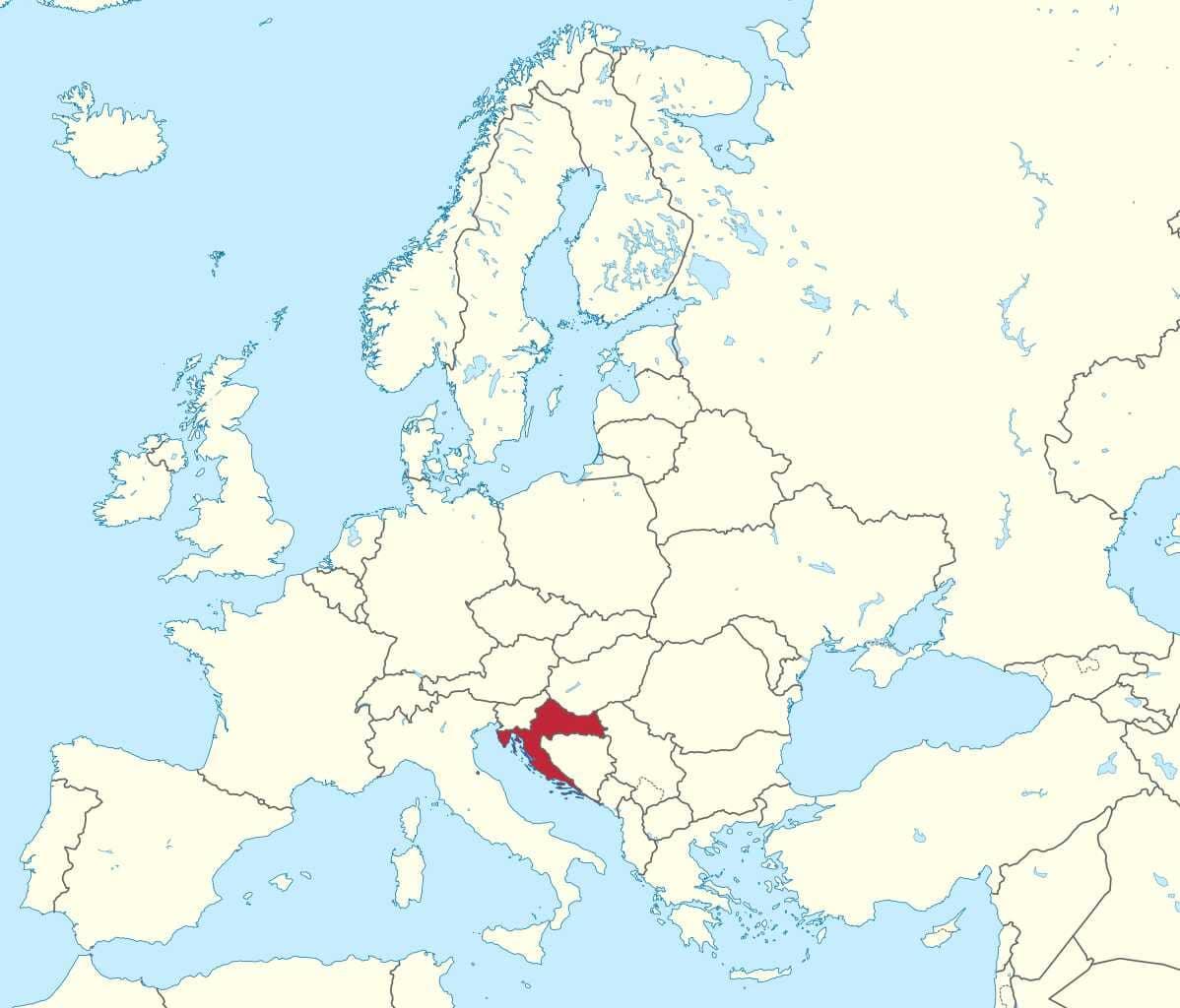 carte de la croatie en europe