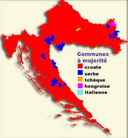 carte des communautés ethniques en croatie