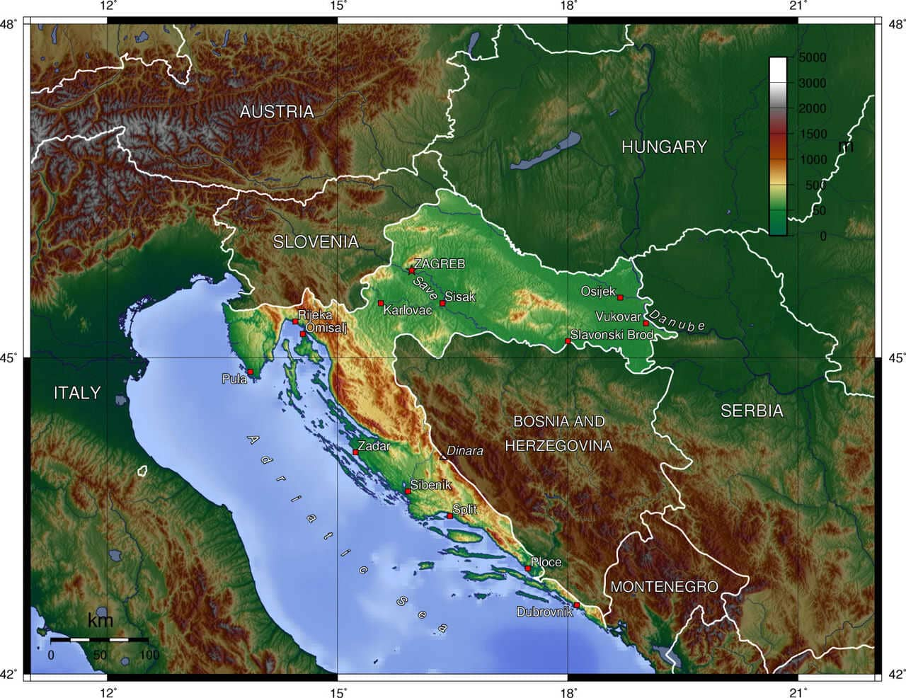 carte des reliefs de croatie topologie