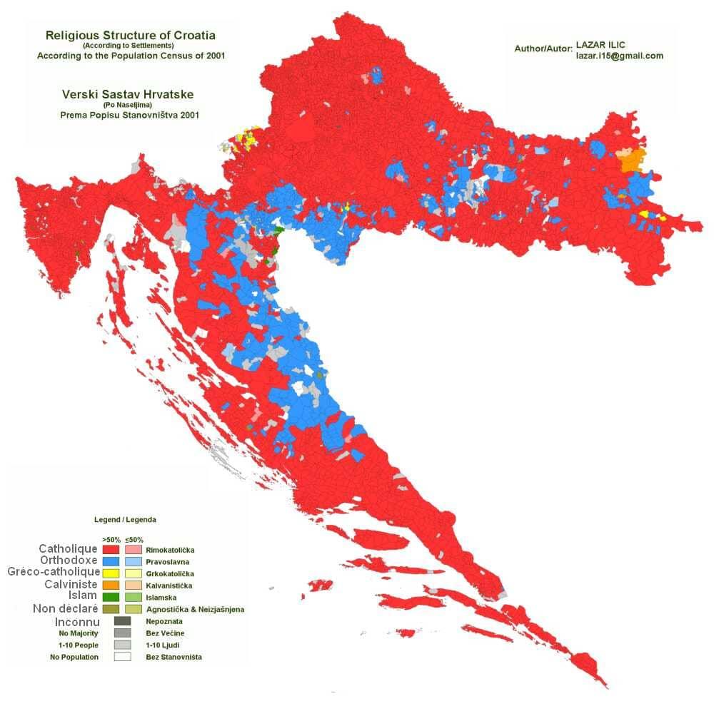 carte des religions en croatie