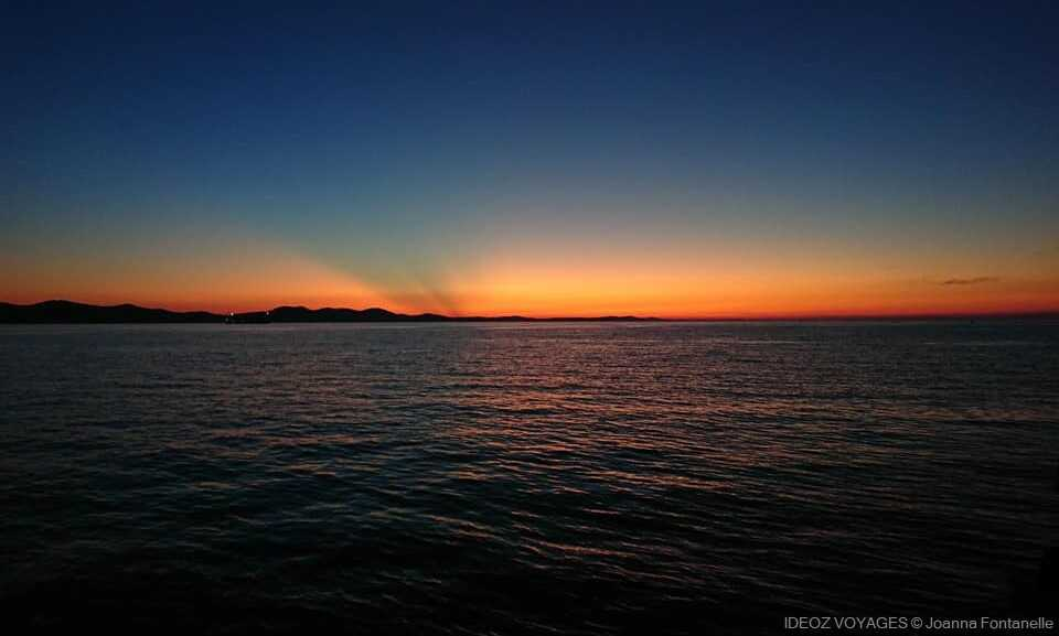 coucher de soleil sur l'adriatique à zadar