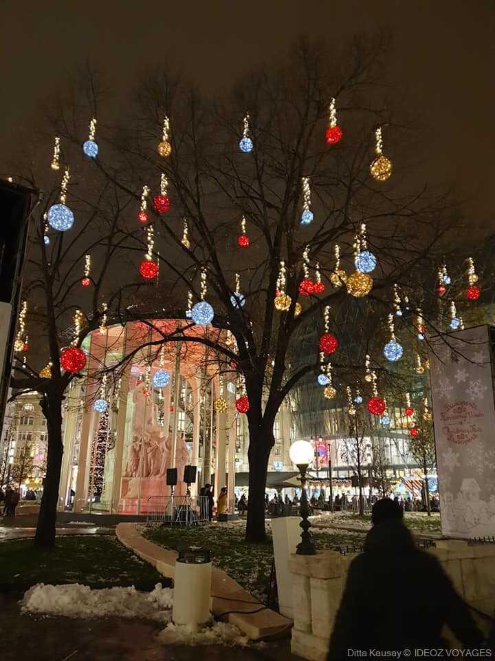 décorations de noel sur un arbre à budapest