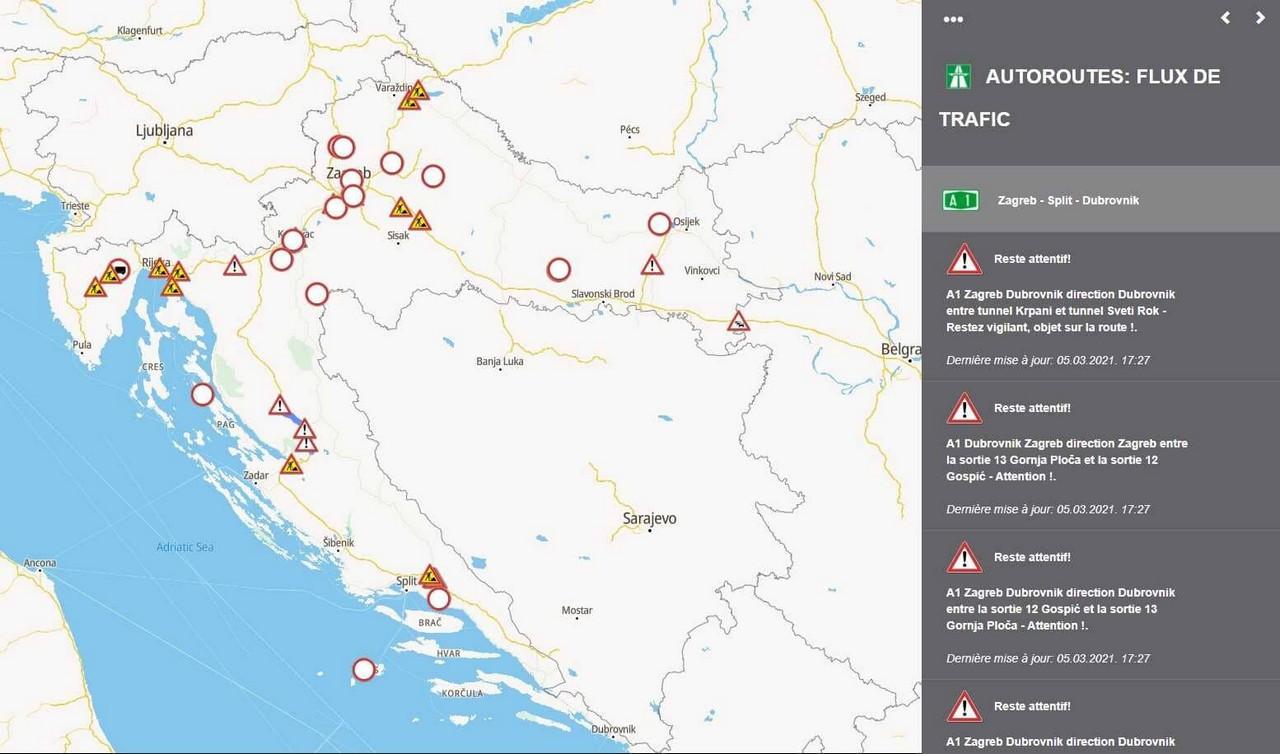 carte autoroutes en croatie travaux et trafic