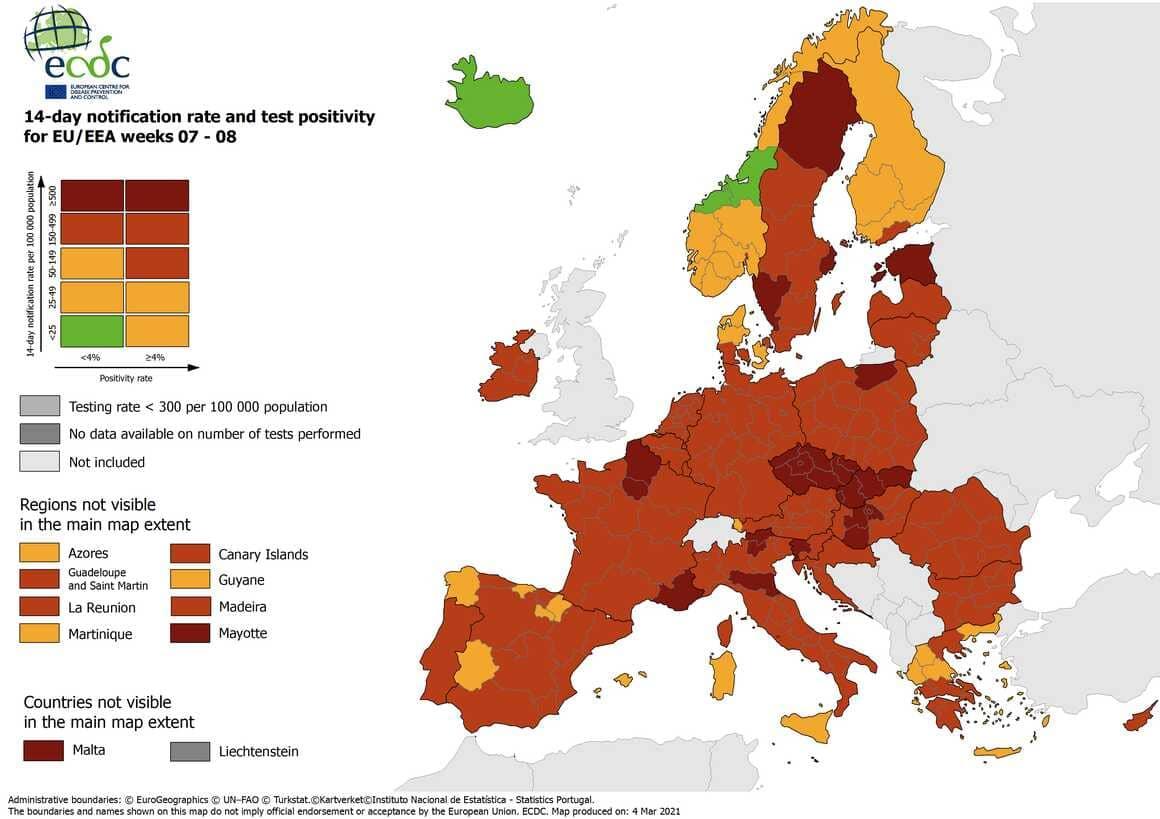 Carte des pays classés par niveau d'alerte au covid 19 en Europe