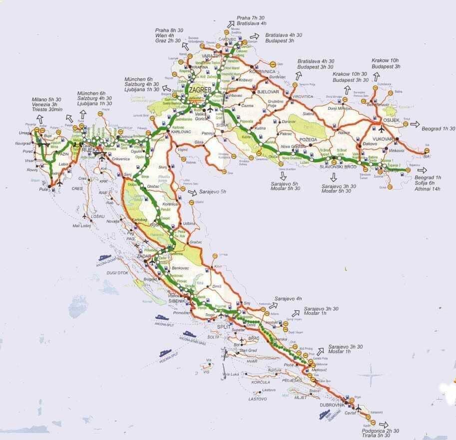 carte autoroutes en croatie
