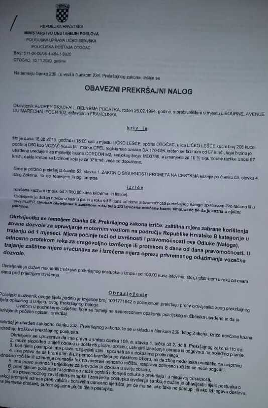 relance de contravention en croatie adressée à un conducteur étranger