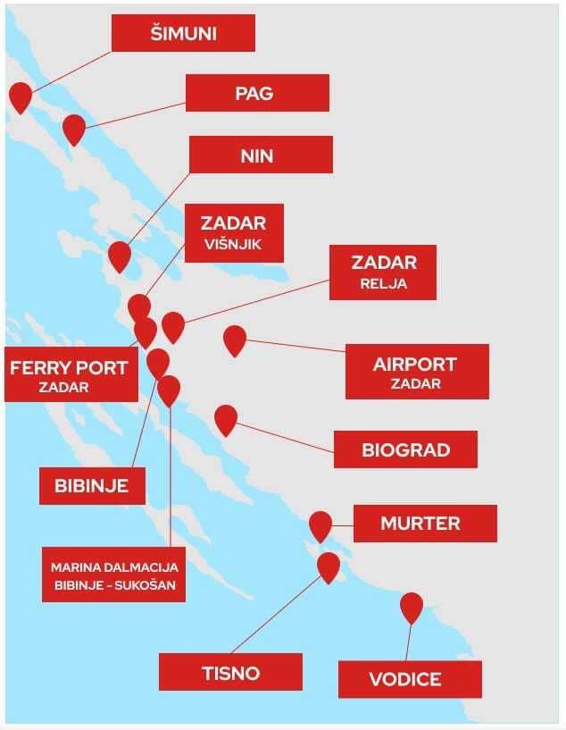 carte des centres de dépistage covid test pcr à zadar et aux environs