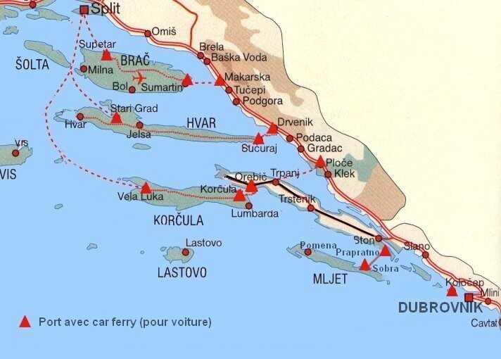 carte des liaisons en car ferry en dalmatie