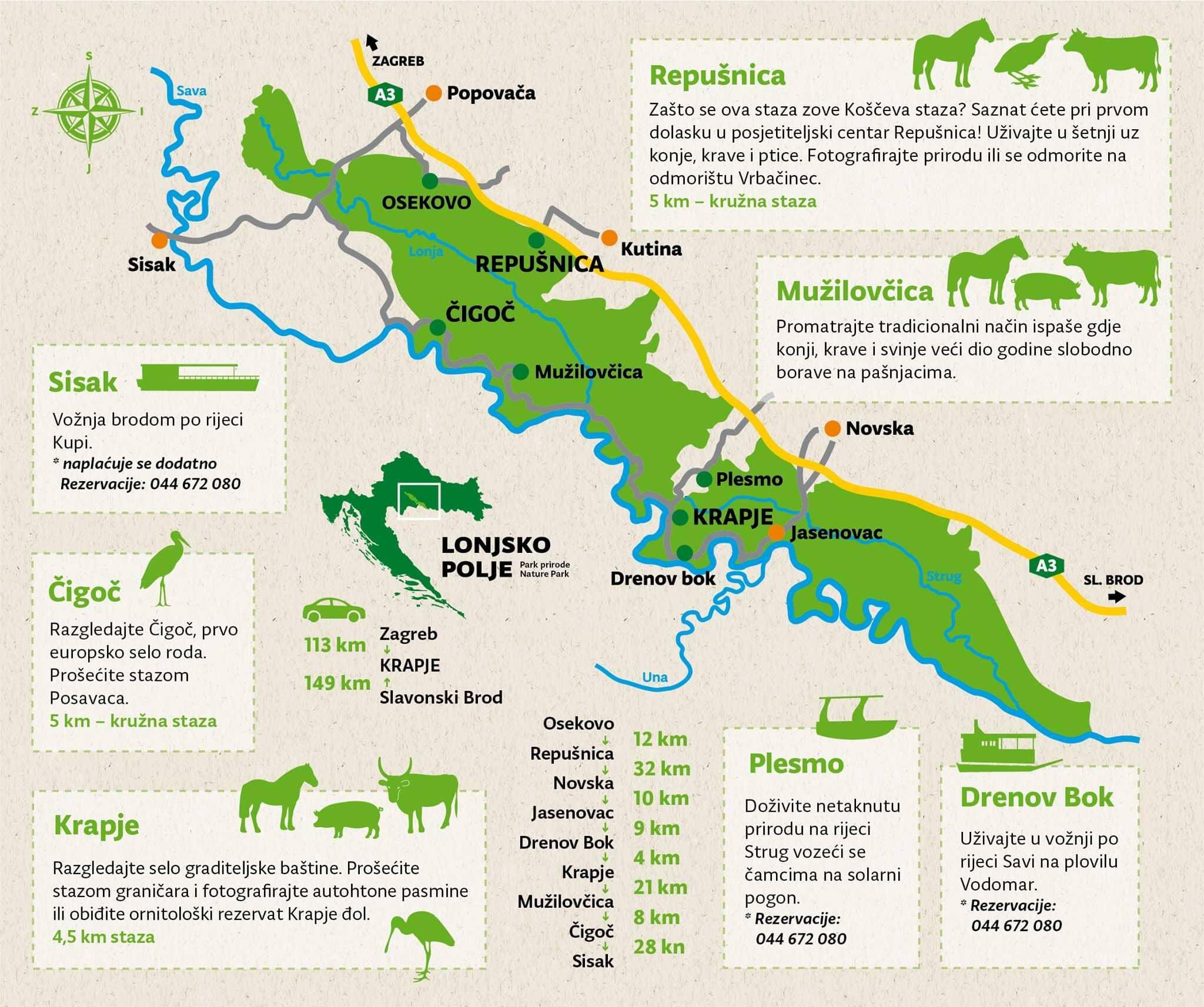 carte parc de lonjsko polje