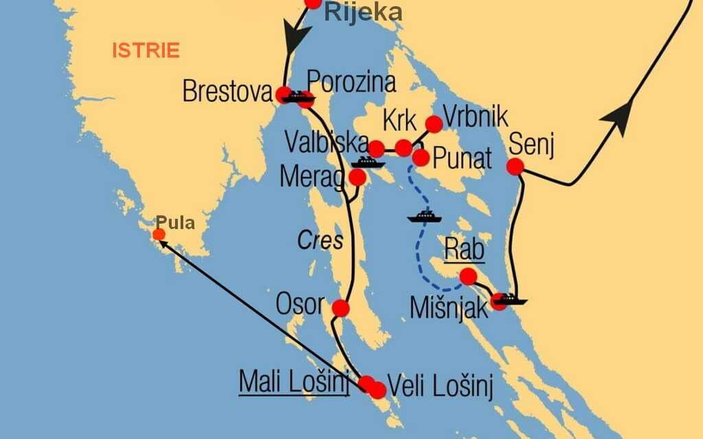 carte des liaisons de car ferries et de catamaran entre les iles du kvarner