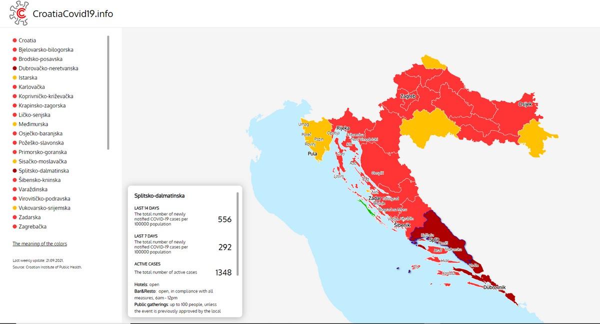 etat epidemiologique covid en croatie 23 septembre 2021