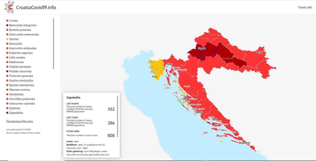carte croatie contaminations covid 19 15 octobre 2021