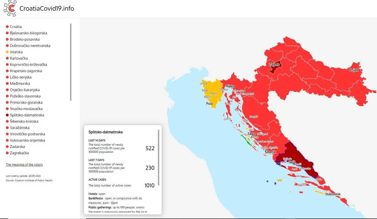 carte des contaminations au covid en croatie 3 octobre 2021